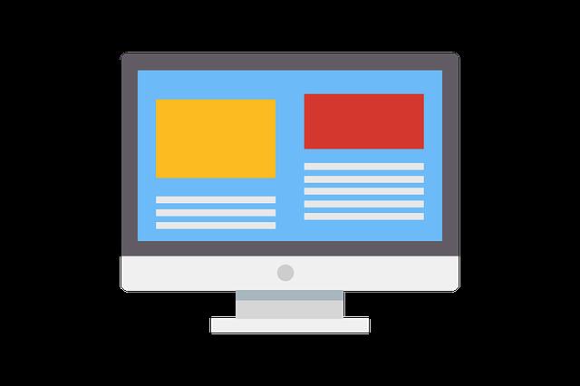 kreslená obrazovka počítače s obsahem na modrém pozadí