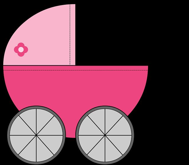 růžový kočárek